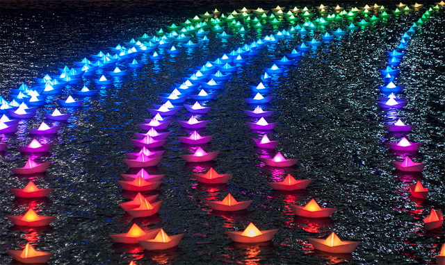 Voyage: A Fleet of 300 Illuminated Boats in Canary Wharf by Aether & Hemera