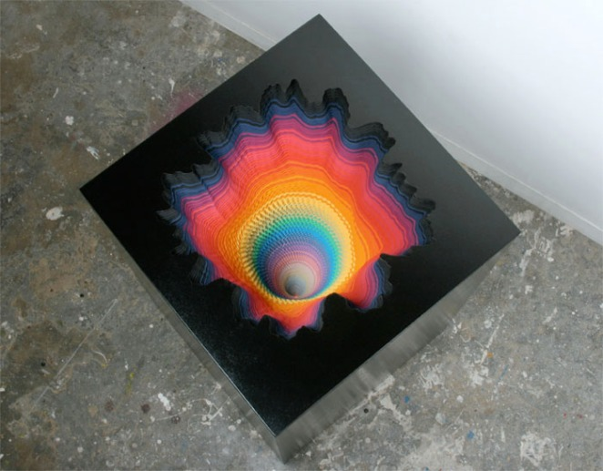 Jen Stark - Abyss colorfull paper sculpture colors