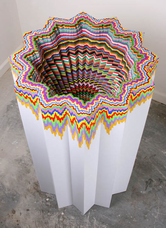 Jen Stark - Cosmic Distortion colorfull paper sculpture colors