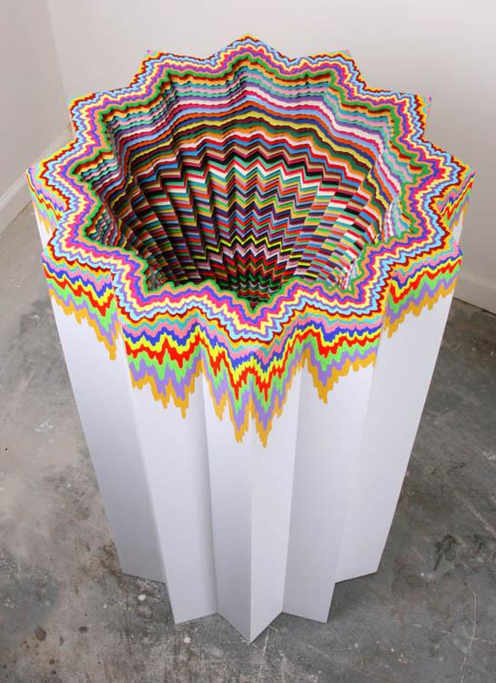 Jen Stark - Cosmic Distortion colorfull paper sculpture colors