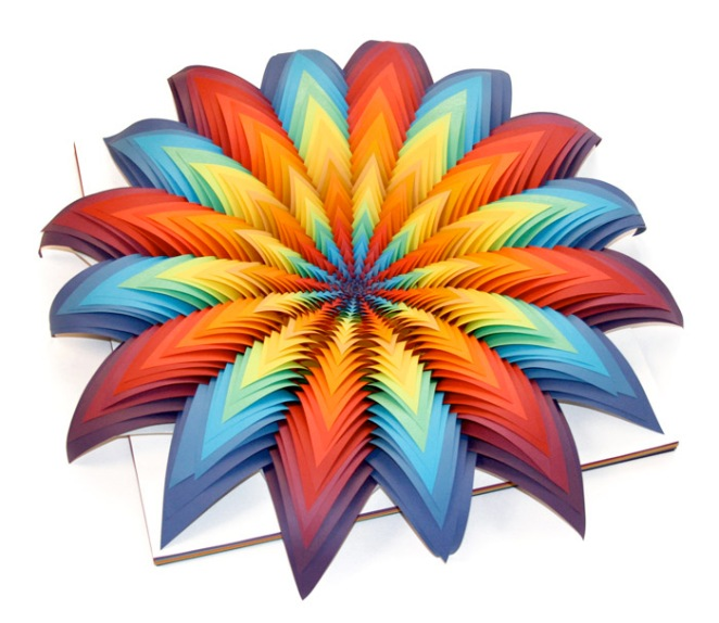 Jen Stark - Eureka colorfull paper sculpture colors