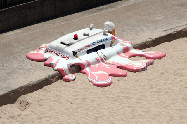 Sydney Australia sculpture beach sand advertising melted ice cream