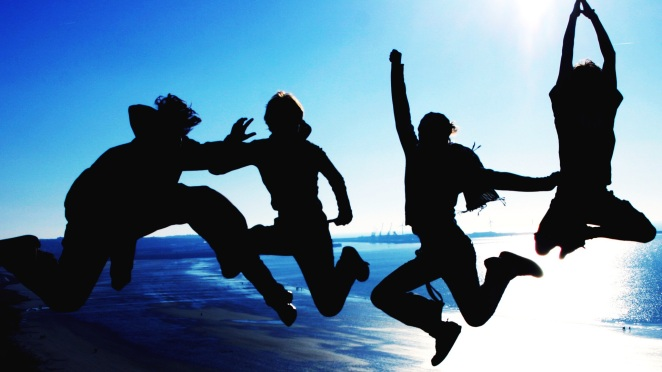 friendship joy friends jumping
